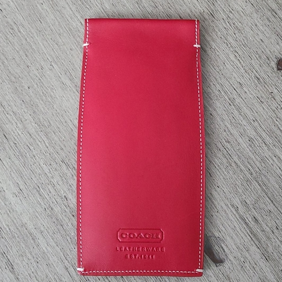 Coach red leather eyeglass case